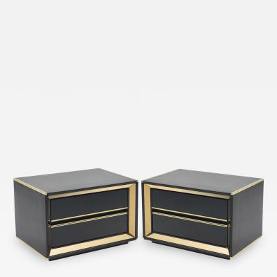 Sandro Petti Pair of Italian Sandro Petti black lacquered brass nightstands tables 1970s