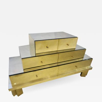 Sandro Petti Rare Vintage Sandro Petti 1960 Silver Nickel Gold Brass Modern Chest Console