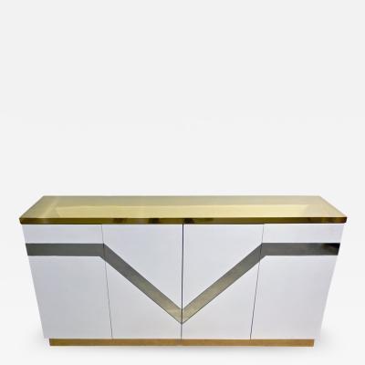 Sandro Petti Sandro Petti 1970s Italian Modern Mirror and Brass White Lacquered Credenza