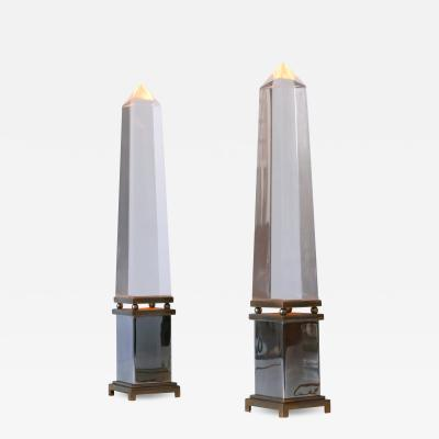 Sandro Petti Set of Two Lucite Obelisk Table Lamps by Sandro Petti for Maison Jansen France