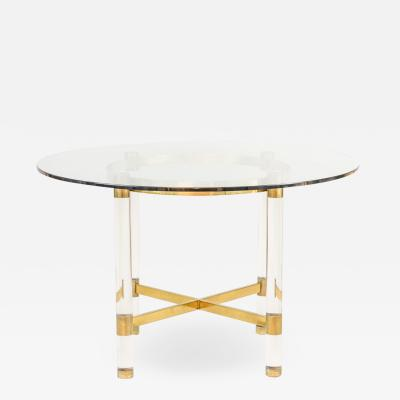 Sandro Petti Table in lucite and gilt brass 1970s