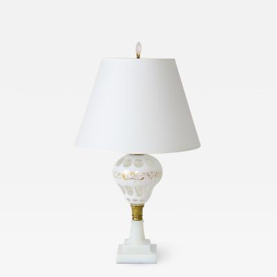 Sandwich Glass Co White Overlay Sandwich Glass Oil Lamp