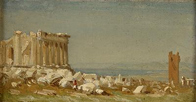 Sanford Robinson Gifford Study for the Ruins of the Parthenon