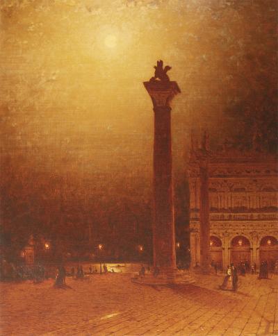 Sanford Robinson Gifford The Column of St Mark Venice Moonlight 1870