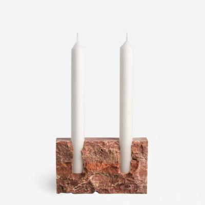 Sanna V lker Red Travertine Sculpted Candleholder by Sanna V lker