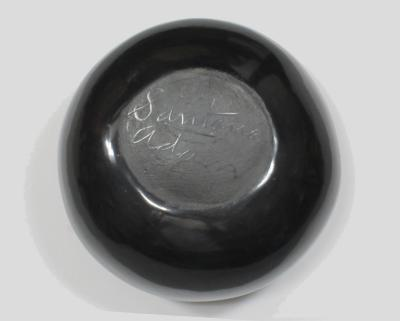 Santana and Adam Martinez San Ildefonso black polished bowl by Santana and Adam Martinez