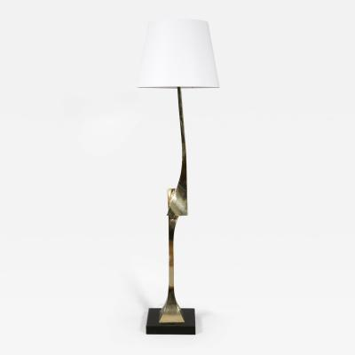 Santarelli Claude Gilt Brass Floor Lamp by Claude Santarelli 1975