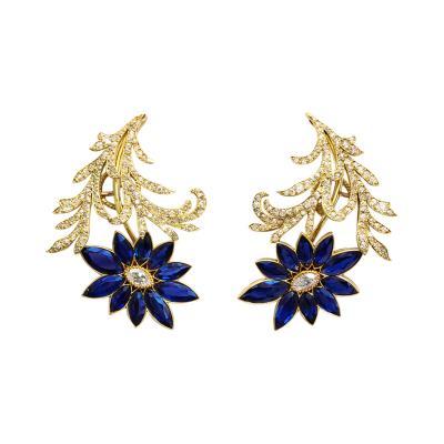 Sapphire Diamond Earclips in 18k Gold