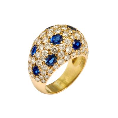 Sapphire and Diamond Bombe Cocktail Ring