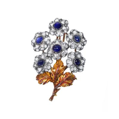 Sapphire and Diamond Flower Brooch by Mario Buccellati circa 1935