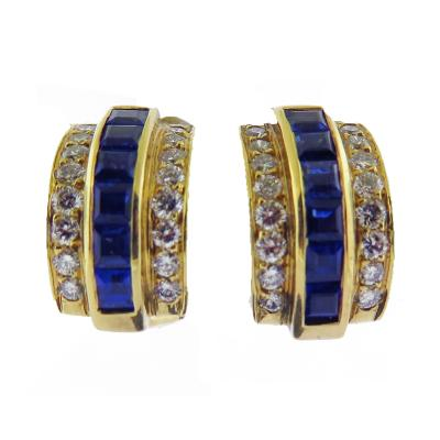 Sapphire and Diamond Gold Earrings