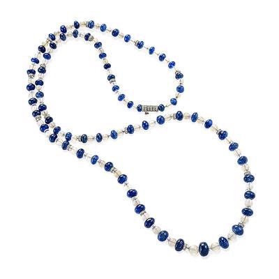 Sapphire and White Opal Chain