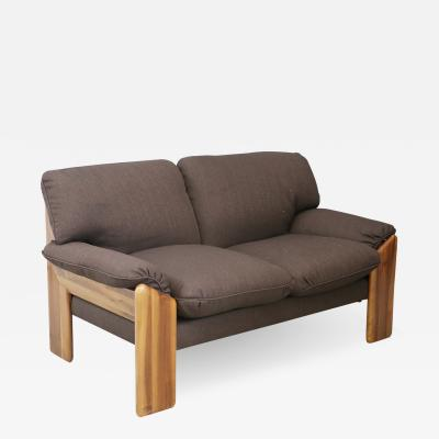 Sapporo Mobil Girgi Sapporo sofa brown two seater MidCentury in noble wood 1970s