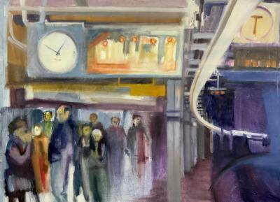 Sarah Slotkin Original Oil Painting of a Subway Platform by Sarah Slotkin