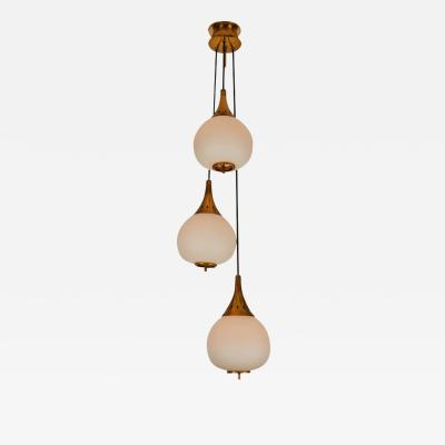 Sarfati Stilnovo 1950s bruno chiarini brass and glass chandelier for stilnovo