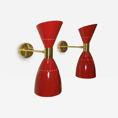 Sarfati Stilnovo 2 Mid Century Modern Italian Stilnovo Style Enameled Aluminum and Brass Sconces