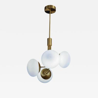 Satin Brass Suspension with Four Lights and Round White Glass Globe