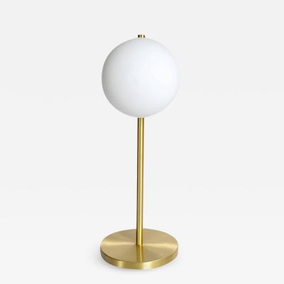 Satin Brass Table Lamp with Round White Glass Globe