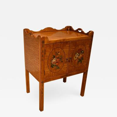 Satinwood Bedside Decorated Bedside Table