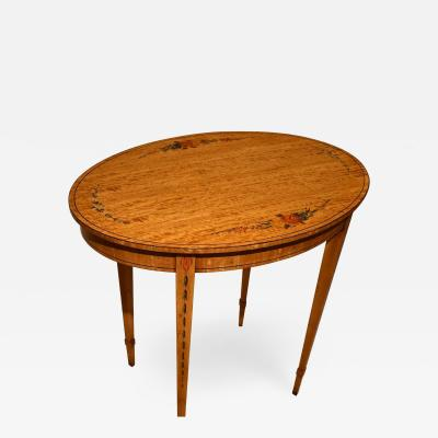 Satinwood Decorated Oval Table