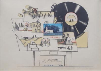 Saul Steinberg Artists Proof for Millet from Six Drawing Tables Portfolio by Saul Steinberg