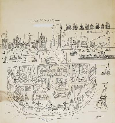Saul Steinberg New York Harbor with Ferry boats and Victorian Houses Holiday Magazine