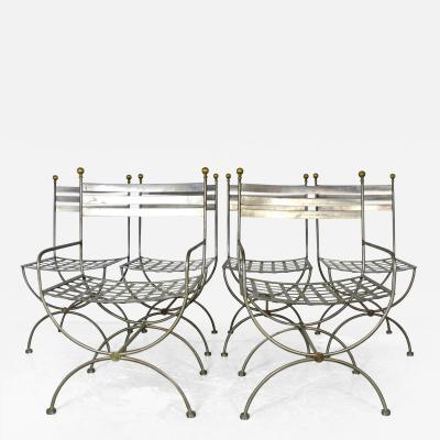 Savonarola Style Steel Dining Chairs