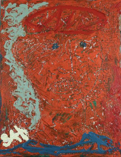 Sax Berlin Blue Eyed Guardian Contemporary Neo Expressionist Oil Painting