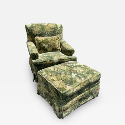 Scalamandre Marly Cut Velvet Club Chair Ottoman