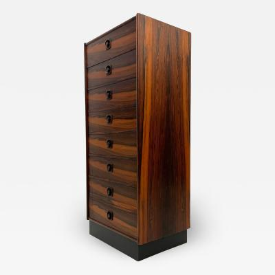 Scandinavia Modern Brazilian Rosewood Chest of Drawers Made in Sweden Highboy