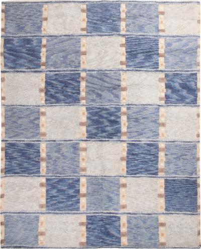 Scandinavian Blue and Gray Wool Pile Rug by Rug Kilim