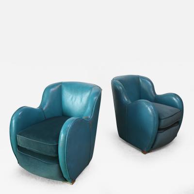 Scandinavian Deco Club Chairs in Blue Leather and Velvet