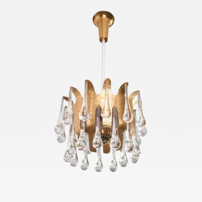 Scandinavian Mid Century Gilt Crown Pendant 2 Tiers