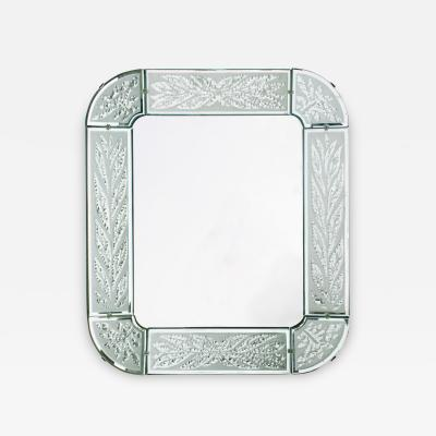 Scandinavian Mid Century Hand and Acid Etched Frame Mirror