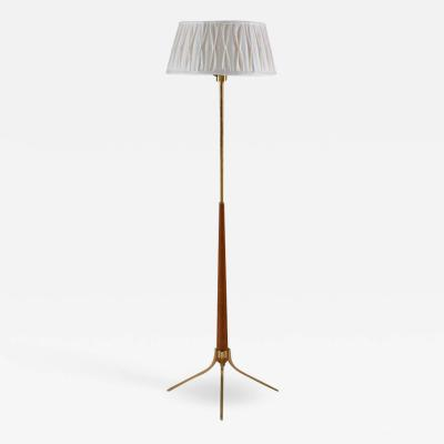 Scandinavian Midcentury Floor Lamp in Brass and Wood