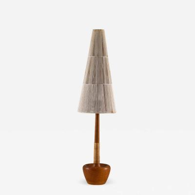 Scandinavian Midcentury Teak and Rattan Table Lamp