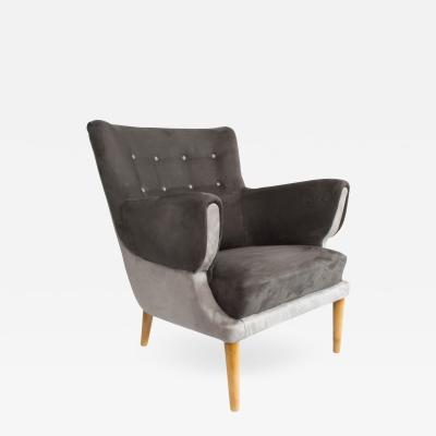 Scandinavian Modern 2 Tone Upholstered Lounge Chair
