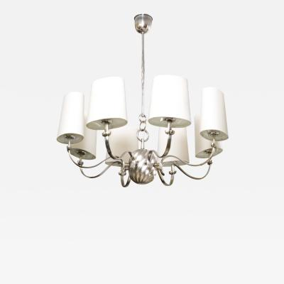 Scandinavian Modern 8 Arm Silver Plated Chandelier