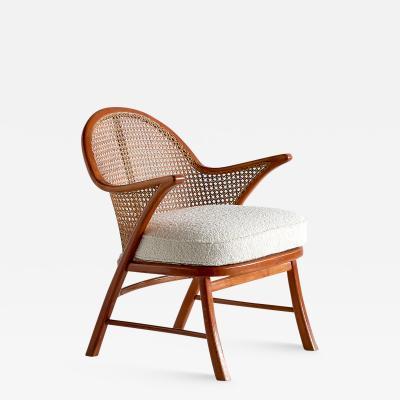 Scandinavian Modern Armchair in Beech Cane and Dedar Boucl Denmark 1950s