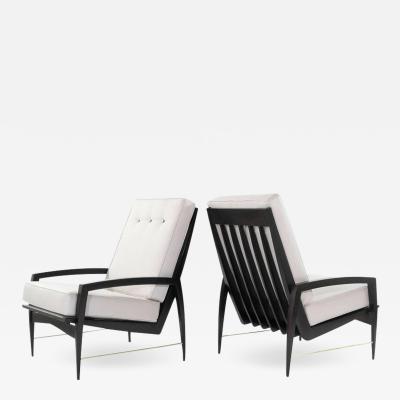 Scandinavian Modern Brass Rodded Lounge Chairs 1950s