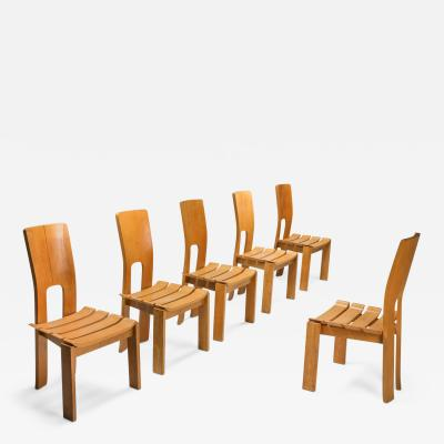 Scandinavian Modern Dining Chairs Set of Six 1970s