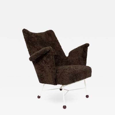 Scandinavian Modern Faux Sheepskin Lounge Chair