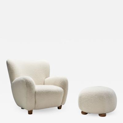 Scandinavian Modern Lounge Chair with Ottoman Scandinavia 1950s
