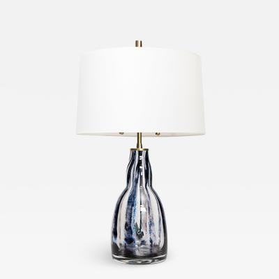 Scandinavian Modern MID CENTURY STRIPED SWEDISH GLASS LAMP
