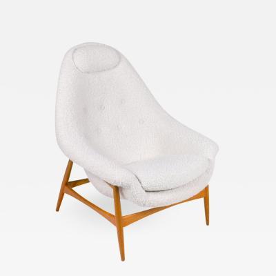 Scandinavian Modern Oak and Upholstered Womblike Lounge Chair Denmark 1960s