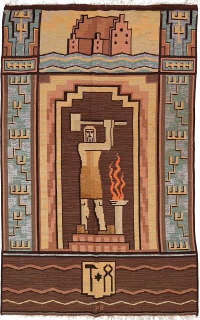 Scandinavian Modern Swedish Art Deco Flat weave rug wall hanging with blacksmith