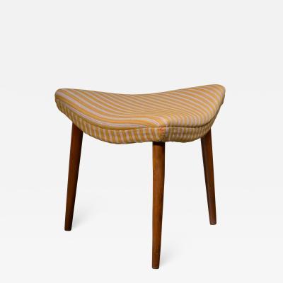 Scandinavian Modern beech and fabric stool or ottoman