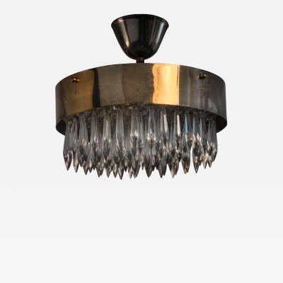 Scandinavian Modern brass with glass prisms ceiling lamp