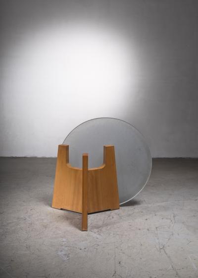 Scandinavian Modern foldable elm coffee table with glass top