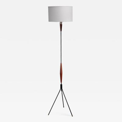 Scandinavian Modern metal and teak tripod floor lamp